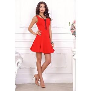 Яркое красное мини-платье арт 21005.