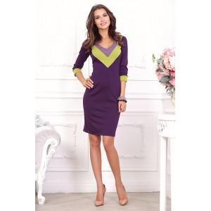 Повседневное платье с контрастными вставками арт 21021