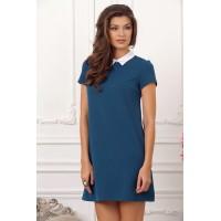 Коктейльное платье с воротничком, укороченной длины арт 27496.