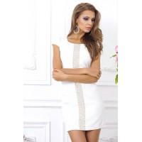 Белое облегающее платье мини на молнии арт 28008.