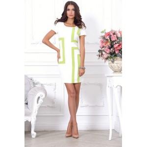"""Стильное белое платье, силуэта по типу """"футляр"""" арт 28010."""