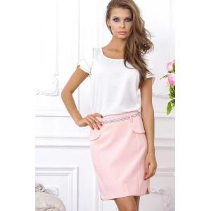 Белая блузка с коротким рукавом, средней длины арт 28020.