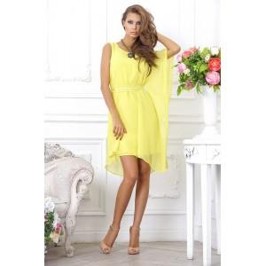 Легкое, шифоновое, желтое коктейльное платье, с ассиметричными рукавами арт 28021.