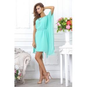 Легкое, шифоновое, голубое коктейльное платье, с ассиметричными рукавами арт 28021.