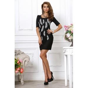Черное платье-мини с вышивкой в виде перышек арт 2L1661A.