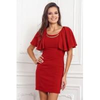 Бордовое нарядное платье для женщин, короткое арт 2L2873A.