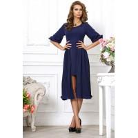 Дизайнерское синее платье с двойной юбкой разной длины арт 3211158.