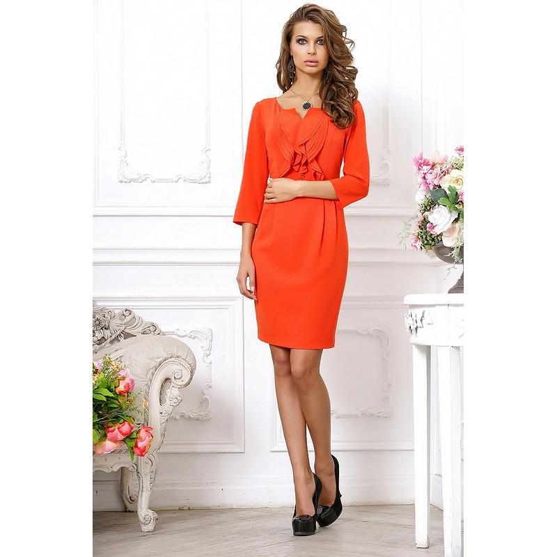 Коралловое полуоблегающее платье, длиной выше колена арт 3L8609-A1.