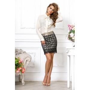Стильная юбка бежевого цвета с черным кружевом арт 3Q8159-A1.