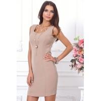 Бежевое платье с накидкой, длиной выше колена, прямого кроя арт  3T622A.