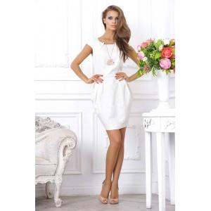Коктейльное платье тюльпан из белого жаккарда, приталенное, длиной выше колена арт  4TA6306.