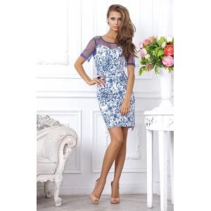 Коктейльное платье с цветочным принтом арт 4TA6396.