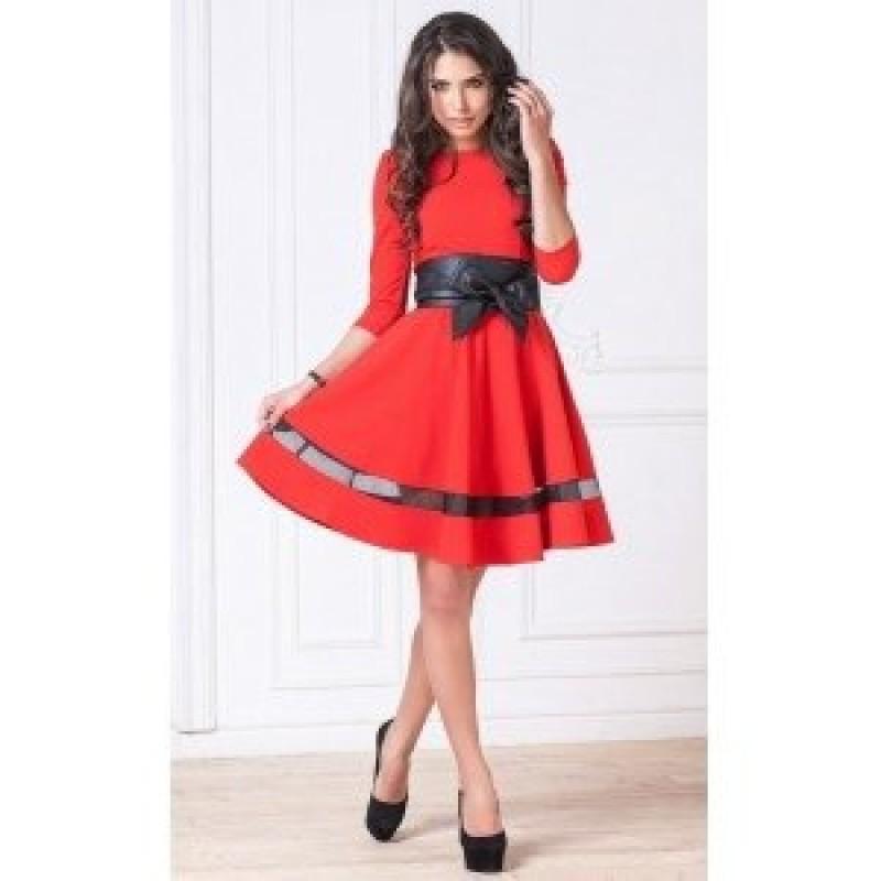 Красное платье с полоской арт 5105.