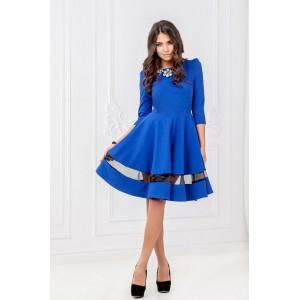 Элегантное синее платье с полоской арт 5105.
