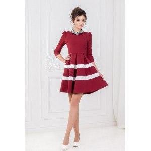 Винное платье с полоской арт 5109.