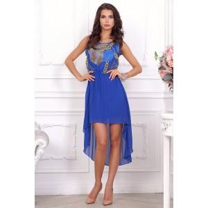 Каскадное синее легкое платье, короткое спереди, длинное сзади арт  A1515