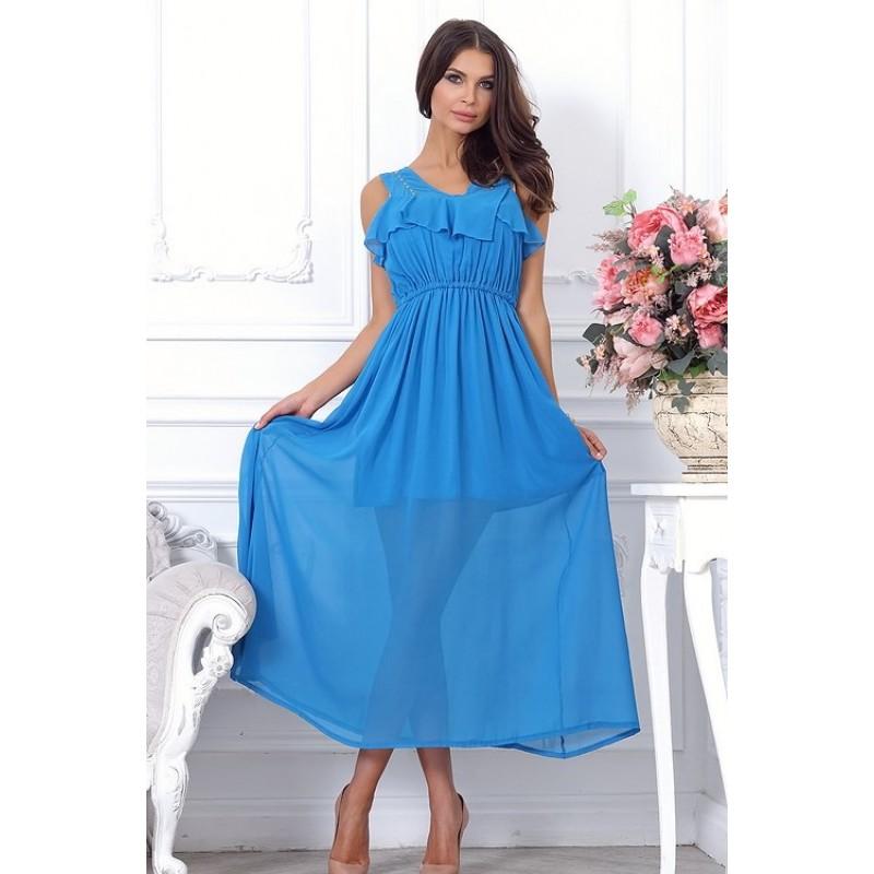 Длинное летнее легкое голубое платье, длиной примерно до щиколотки арт A2395