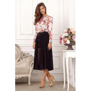 Черная шифоновая юбка, средней длины арт A2953.