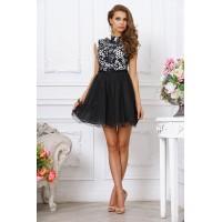 Стильное черно-белое коктейльное платье с пышной юбкой, короткое, выше колена арт 2L997-A1.