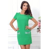 Зеленое платье на каждый день, трапецевидного силуэта арт FL1312..