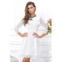 Восхитительное, коктейльное платье из белого кружева арт FL1560.