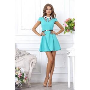 Ярко голубое модное платье мини в стиле Fit-and-flare арт FL1631.