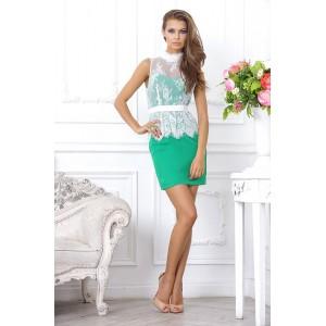 Стильное, короткое, зеленое коктейльное платье с кружевным верхом арт  FL1687.