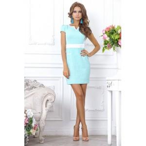 Изящное, приталенное коктейльное платье цвета ментола, длиной выше колена арт FL1882.
