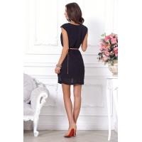 Легкое черное элегантное женское платье мини, оригинального кроя. арт Q1362