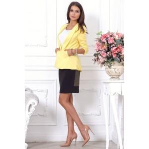 Стильный удлиненный женский жакет желтого цвета арт Q2803