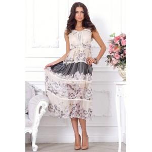 Длинное легкое летнее платье с расклешенной юбкой арт Q2810