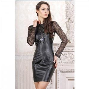 Черное платье: экокожа и кружево