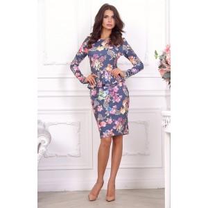 Элегантное повседневное платье с цветочным принтом арт 21002.