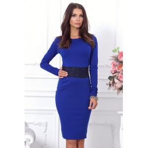 Стильное синее повседневное платье арт 21006.
