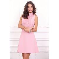 Коктейльное платье розового цвета арт 21008.