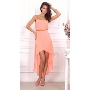 Стильное розовое повседневное платье с ремешком арт 21009.