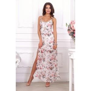 Стильное повседневное платье c цветочным принтом арт 21012.