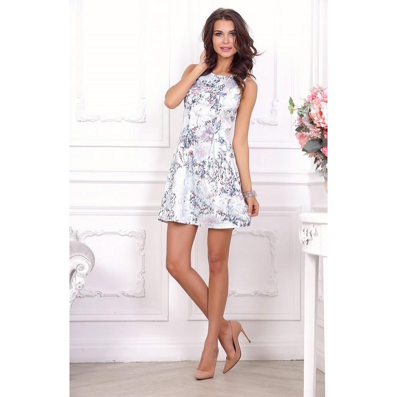 Стильное ,летнее повседневное платье с цветочным принтом арт 21014.