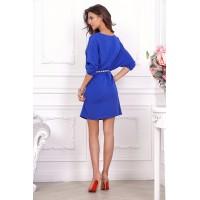 Дизайнерское синее повседневное платье арт 21016.