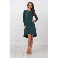 Зеленое свободное платье арт 21055.