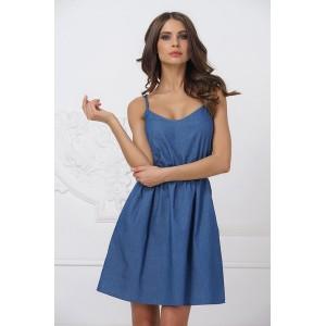 Легкое голубое платье под джинсу арт. 21098