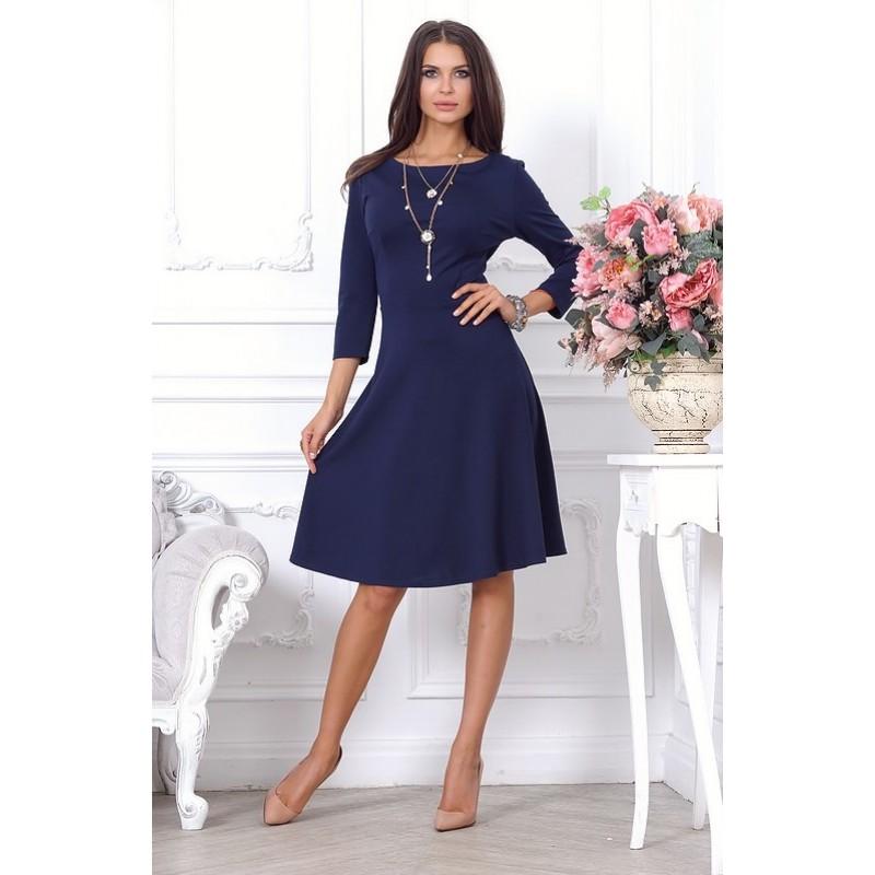 Великолепное синее платье, длиной выше колена арт 27450.