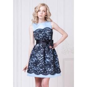 Голубое платье с темно-синим кружевом арт. 5157