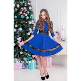 Синее платье с черной прозрачной полосой арт. 5105